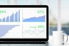 Grafico di affari sullo schermo del computer portatile con la tazza di caffè sulla tavola Immagine Stock Libera da Diritti