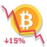 Grafico di ammortamento di Bitcoin Immagini Stock Libere da Diritti