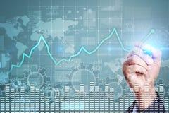 Grafico di analisi dei dati sullo schermo virtuale Finanza di affari e concetto di tecnologia immagine stock