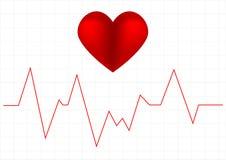 Grafico di battimento di cuore e un simbolo del cuore Fotografie Stock Libere da Diritti