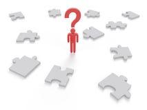 Grafico di concetto di puzzle del punto interrogativo Fotografia Stock