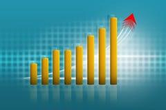 Grafico di crescita di affari, fondo giallo e blu illustrazione vettoriale