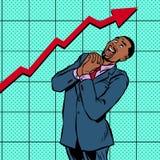 Grafico di crescita africano allegro dell'uomo d'affari illustrazione di stock
