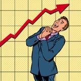 Grafico di crescita allegro dell'uomo d'affari royalty illustrazione gratis