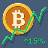 Grafico di crescita di Bitcoin Immagine Stock
