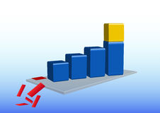 Grafico di crescita con il cubo dorato Fotografia Stock Libera da Diritti