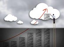 Grafico di crescita rampicante del disegno della scala dell'uomo d'affari sulla nuvola Immagini Stock