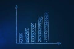Grafico di crescita su una lavagna Fotografia Stock Libera da Diritti