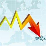 Grafico di crisi economica Fotografia Stock