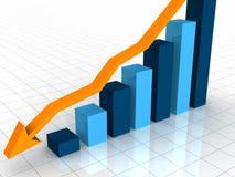 grafico di declino di affari 3D illustrazione di stock