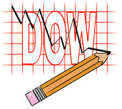 Grafico di dow che va giù Immagini Stock