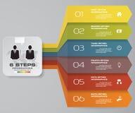 grafico di elemento di Infographics di 6 punti per la presentazione ENV 10 Immagine Stock