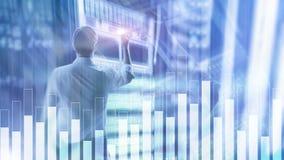 Grafico di finanza e di affari su fondo vago Concetto di commercio, di investimento e di economia fotografie stock libere da diritti