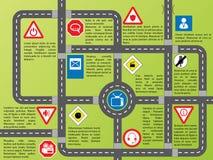Grafico di Info con le strade ed i segni alla moda Immagini Stock Libere da Diritti