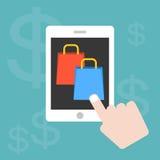 Grafico di informazioni che shoping online con la compressa e lo smartphone Immagine Stock