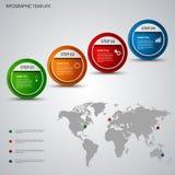 Grafico di informazioni con i puntatori ed il modello rotondi della mappa di mondo Immagine Stock