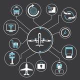 Grafico di informazioni di concetto dell'aeroporto Fotografie Stock