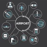 Grafico di informazioni di concetto dell'aeroporto Fotografie Stock Libere da Diritti