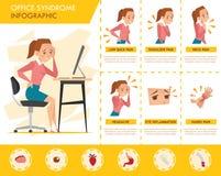 Grafico di informazioni di sindrome dell'ufficio della ragazza Immagini Stock