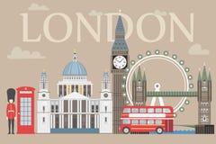 Grafico di informazioni di viaggio di Londra Vector l'illustrazione, Big Ben, l'occhio, il ponte della torre e l'autobus a due pi Fotografia Stock
