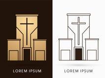 Grafico di logo della costruzione di chiesa illustrazione di stock