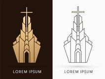 Grafico di logo della costruzione di chiesa illustrazione vettoriale
