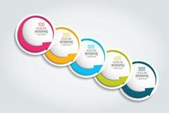 Grafico di opzione, schema, diagramma, cronologia Modello di 5 Infographic Fotografia Stock