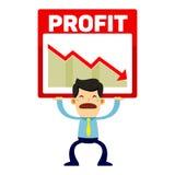 Grafico di perdita di profitto di Trying To Lift dell'uomo d'affari Fotografie Stock Libere da Diritti