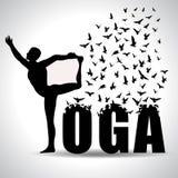 Grafico di posa e di informazioni di yoga, modelli per il centro della stazione termale, concetto per libertà della mente, manife royalty illustrazione gratis