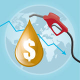 Grafico di prezzo del petrolio Fotografie Stock Libere da Diritti