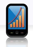 Grafico di profitto sul telefono astuto Illustrazione Vettoriale