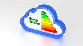 Grafico di rendimento energetico dentro di un simbolo blu della nuvola illustrazione di stock