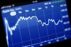 Grafico di riserva del Apple inc sul iPhone 4s Fotografia Stock Libera da Diritti