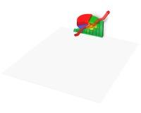 grafico di statistiche 3D su carta in bianco Immagini Stock