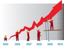 Grafico di successo di Bussines Immagine Stock