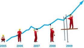 Grafico di sviluppo di affari Fotografie Stock Libere da Diritti