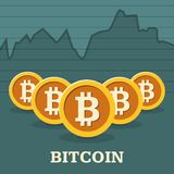 Grafico di tasso di cambio di Bitcoin Fotografia Stock