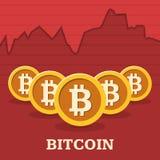 Grafico di tasso di cambio di Bitcoin Fotografie Stock Libere da Diritti