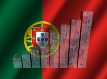 Grafico di valuta sull'illustrazione increspata della bandiera del Portoghese Fotografia Stock Libera da Diritti