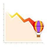 Grafico di vendite di affari di perdita che diminuisce con il pallone, fallimento Fotografie Stock