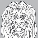 Grafico di vettore editabile capo- del leone arrabbiato Immagine Stock Libera da Diritti