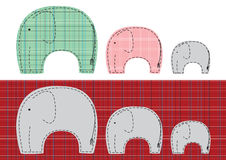 Grafico di vettore impostato con gli elefanti Immagini Stock