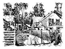 Grafico digitale in bianco e nero della composizione del villaggio con hous illustrazione di stock