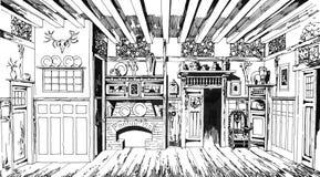 Grafico disegnato a mano della sala da pranzo d'annata della quercia Fotografie Stock Libere da Diritti
