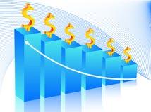 Grafico e dollaro Immagine Stock