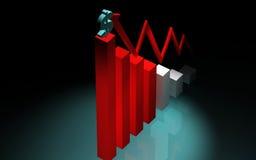 grafico e dollaro di aumento 3d Fotografie Stock