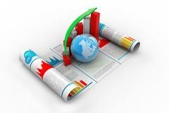 Grafico e globo di crescita di affari Immagine Stock Libera da Diritti