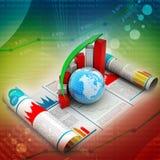 Grafico e globo di crescita di affari Fotografia Stock