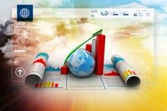 Grafico e globo di crescita di affari Fotografia Stock Libera da Diritti