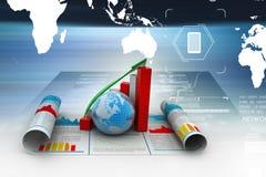 Grafico e globo di crescita di affari Fotografie Stock Libere da Diritti